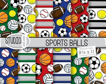 Sports Digital Paper: SPORTS BALLS Patterns, Sports Pattern Print, Sports Download, Sports Patterns Sports Backgrounds Sports Scrapbook
