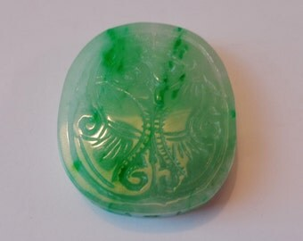 078-- 1800s Qing Dy exported Chinese imperial green glassy jadeite pendulum pendant