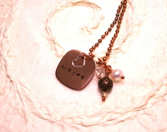 Necklace, Madre, Copper Necklace, Sterling Silver Heart Charm, Freshwater Pearl Necklace,  Swarvoski Crystals and Copper Ball Bead