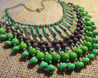 Earth element.Tribal Necklace green and brown fringe.. Native American style. Boho, Boemian, Gypsy