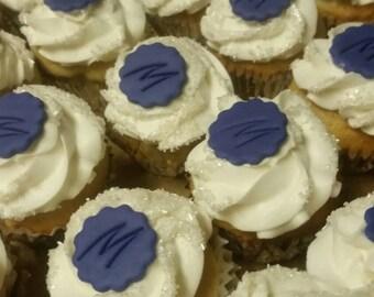 Handmade Edible Fondant Monogram Cupcake Toppers