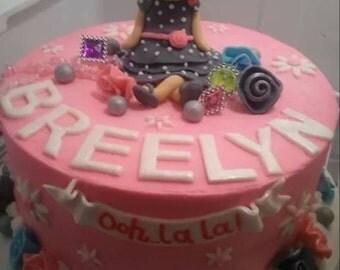 Handmade Fondant Fancy Nancy Inspired  Cake Topper Set