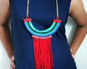 """Handmade Necklace with Red Fringes """"Egypt on Red"""""""