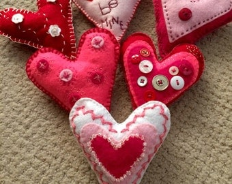 Hand-Embroidered Felt Hearts