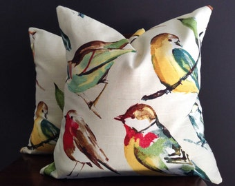 2 Meadow Bird Pillow Covers, 2 (18x18) Modern Pillow Covers
