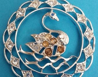 Large Vintage Silver Tone Pendant Swan and Rhinestones Cygnet Pendant