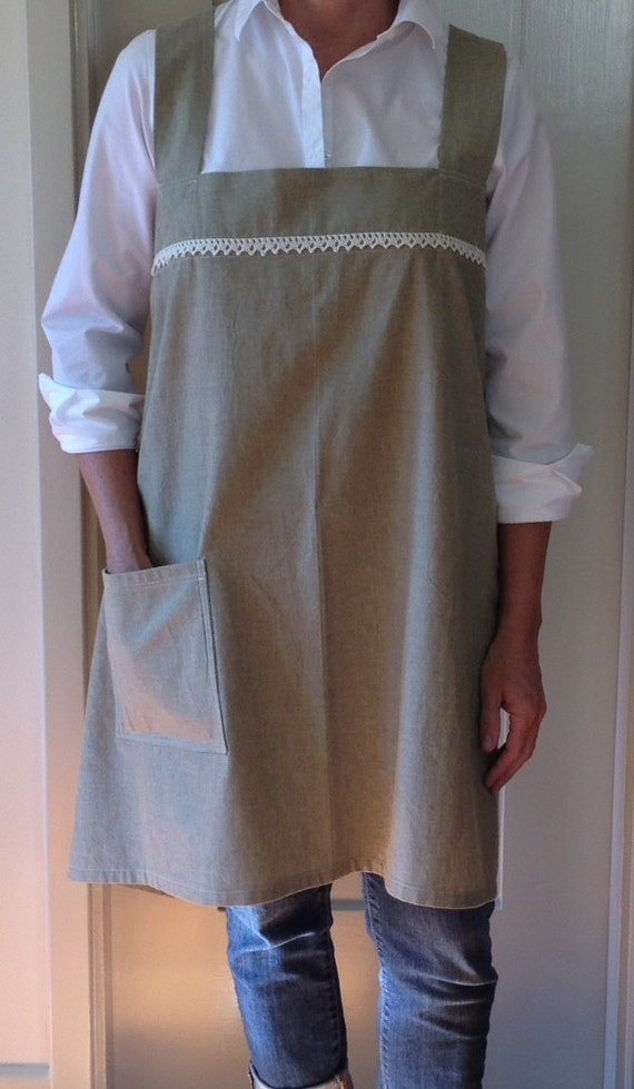 Japanese Style Smock Apron Or Pinafore Cross Back Straps