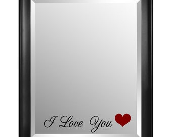 I Love You Mirror Decal