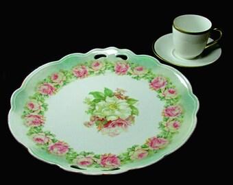 c1909 Moritz Zdekauer MZ Austria Cake Plate Roses & Gold Espresso Demitasse Cup