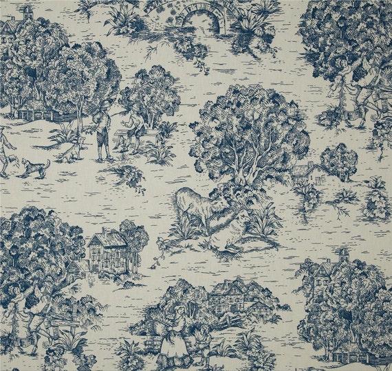 fabric shower Curtain Quaker Toile Ocean navy blue ivory 72 x 84 LONG ...