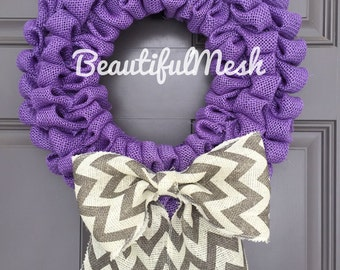 Burlap Purple and Gray Bubble Wreath with Chevron Bow