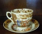 Georgian Porcelain Chocolate Cup and Saucer - Circa 1815 - Mongol Huntsman Pattern