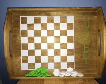 Kids Customized Pine Tray Checkers Game