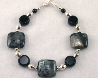Labradorite, Black and Silver Braclet - B001MFL