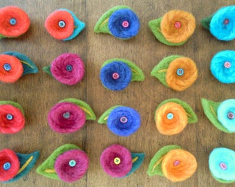Bright and Colourful Hand Felted Brooches