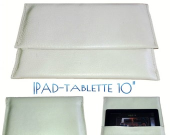 SpecialFilters case cover pouch white vintage leather recycled to Ipads and tablets 10 inch