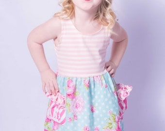 Rosey Tank Dress Summer Dress Easter Dress Ready to ship Size 3T