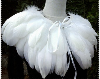 White feather Collar Shrug Cape