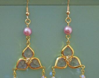 Flower Petal Earrings with Swarovski Stones