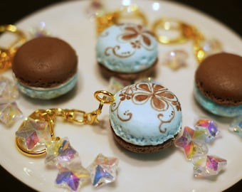 Light Blue and Brown Macarons with Gold Keychain
