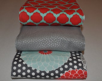 Set of 3 6-Ply Burp Cloths / Size 13 in x 19 in / Burp Clothes / Flowers, Dots, Lattice / Cloth Diaper