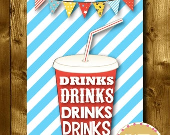 PRINTABLE // Carnival party sign // Carnival sign // Circus party sign // Circus sign // Circus party // Drink sign // Food sign