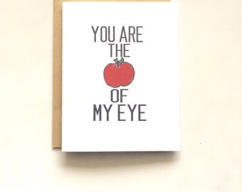 Apple of My Eye Card- Cute Card- Love Card- Greeting Card- Handmade Card- Apple of My Eye