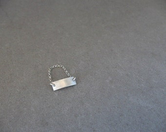 Sterling Silver Chain Ring, Silver Bar Ring, Silver Minimalist Ring, Sterling Silver Dainty Ring