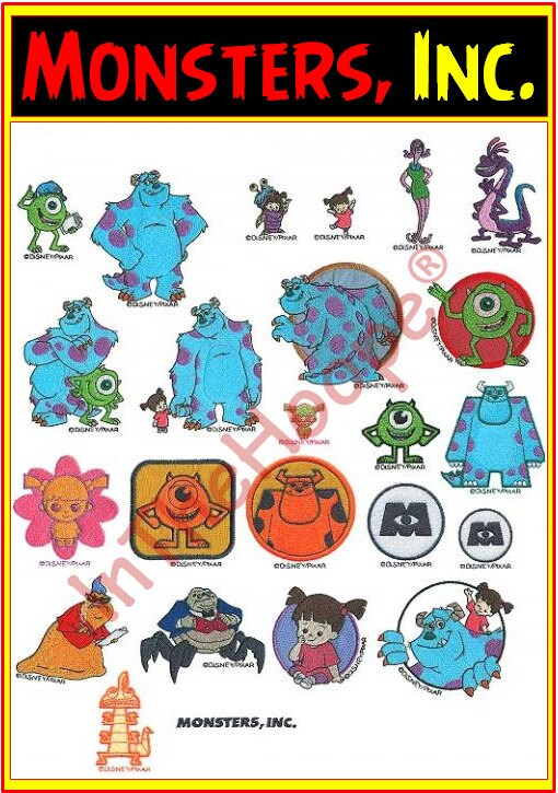 monsters inc machine embroidery designs
