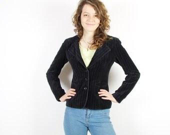 Black Velveteen  Womens Jacket Striped Blazer  Long Sleeves Formal Jacket Size Small