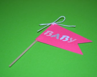 Baby Girl Hot Pink Pennant Cupcake Toppers/Pennant Cupcake Toppers/Cupcake Toppers/Flag Cupcake Toppers/Flags