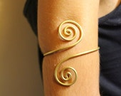 Upper arm cuff arm band spiral handmade made of brass, aluminium, german silver or sterling silver 925  wire.