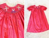 Vintage - Toddler Red Plaid Scissor Embroidered Smocked Dress (Size 5)