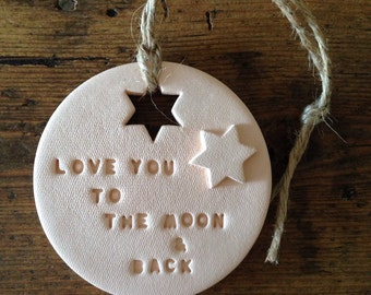 Love you to the moon: Blush clay decoration ~ Mother's Day ~ baby room ~ nursery decoration ~ new baby gift ~ Valentine's Day