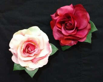 You choose!!! Beautiful pink or red rose pinup hair flower clips