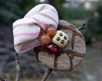 Beaded Brooch, Fabric Brooch, Textile Jewelry, Handmade Jewelry,  Brown Brooch, Pink Brooch, Colorful Brooch, Womens Gift, Free Gift Box