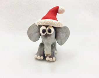 Christmas elephant, polymer clay elephant, miniature elephant, silver elephant ornament, tiny elephant, elephant christmas ornament