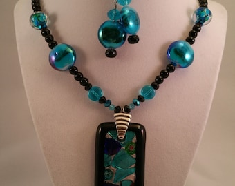 Large Blue and Black Glass Pendant Necklace with Earrings Set
