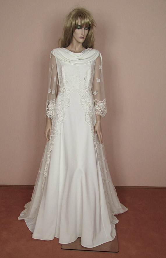 Ivory empire wedding dress vintage 90s empire style bridal gown