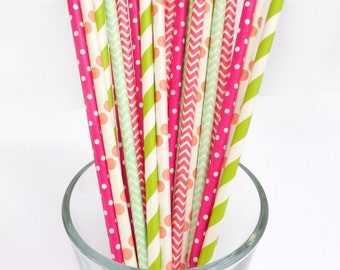 Pink Paper Straws - Hot Pink and Lime Green Party Decor -Chevron Paper Straws -Hot Pink Party Straws -Baby Shower, Bridal Bachelorette Party