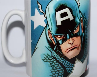 Custom Printed comic book marvel Character Captain America Avengers Mug / Mugs perfect for a Gift Kitchen Work Office Cup