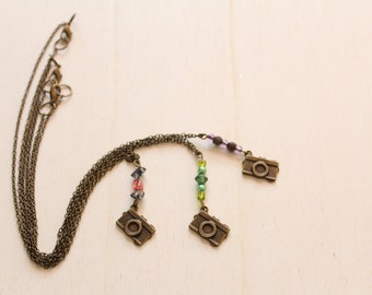 Camera charm necklace, chain bronze, and colored beads