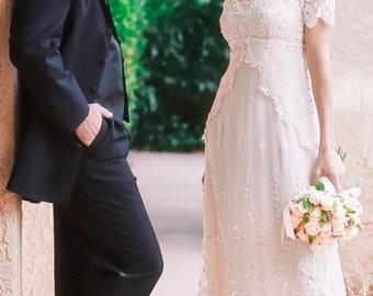 Lace Wedding Dress With Embroidered Tulle, Cap Sleeves And Empire Waist.  Casual Wedding Dress