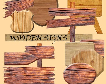 Wooden signs digital clipart, with brown wood texture, distressed wood, wood grain; for commercial use