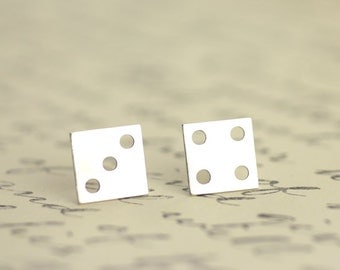 Silver Dice Earrings, Sterling Silver Dice Studs, Las Vegas inspired jewelry, lucky dice, lucky charm, gamling