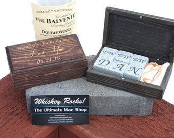 Unique Groomsmen Gift, 6 Engraved Whiskey Stones In Personalized Rectangle  Box, The Perfect Valentineu0027s