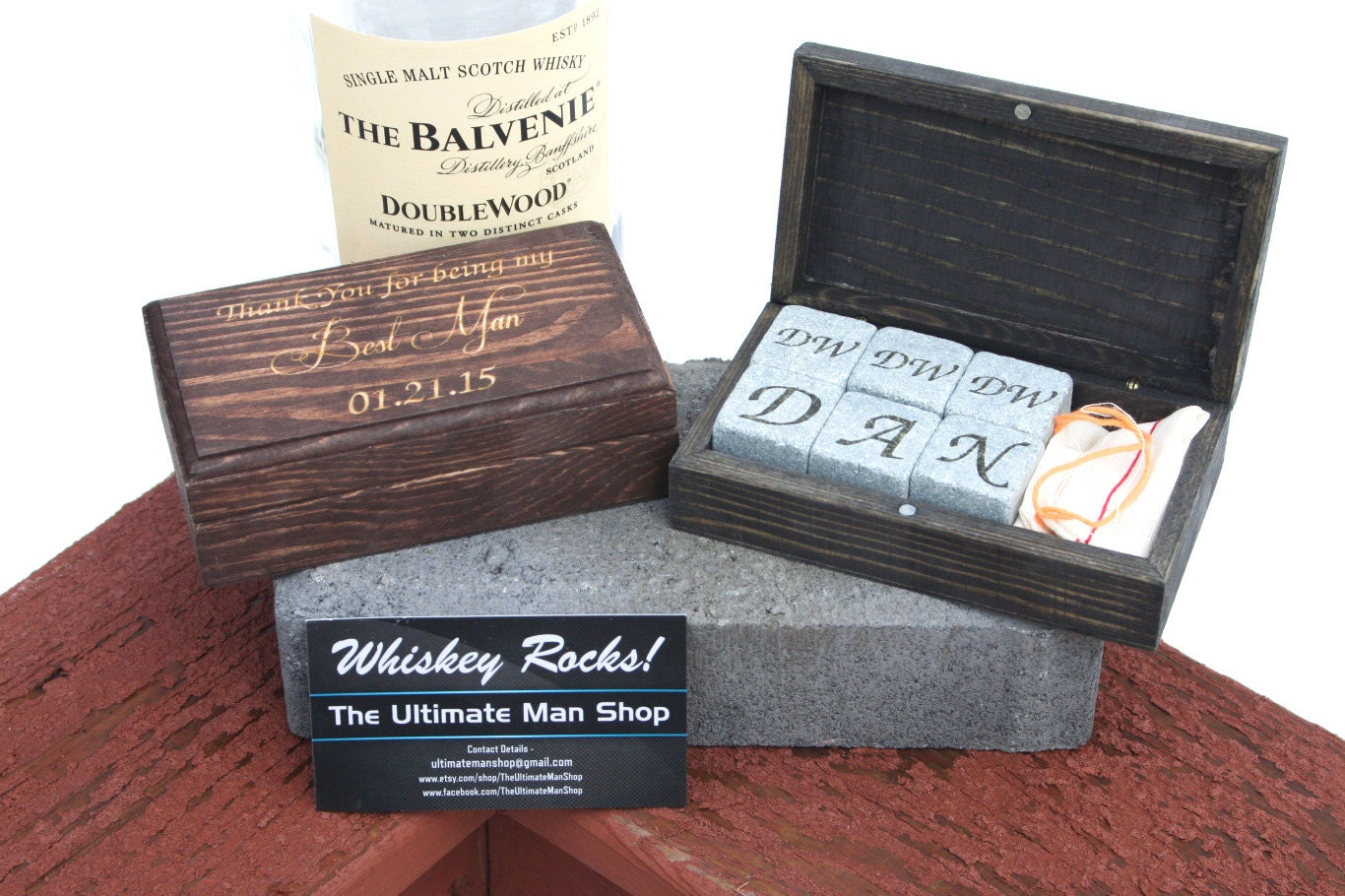 Unique Groomsmen Gift 6 Engraved Whiskey Stones In