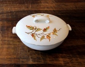 Casserole Dish with Lid | Ceramic Casserole | Vintage Soup Tureen | Autumn Leaf Pattern | Thanksgiving Table Decorations