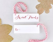 Sweet Treats Gift Tags, Set of 10 Gift tags, Gift wrapping tags, Treat tags, Red and white Tags