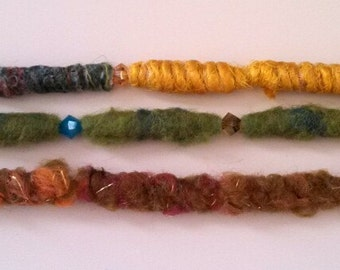 CLEARANCE - Slighty bohemian, one part gypsy, and cozy on the wrist - Felted beads bracelet set